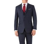 Slim Fit Business Anzug Sakko aus Flanell in Blau