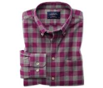 Extra Slim Fit Oxfordhemd in BeerenRot und Grau
