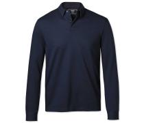 Langärmeliges, einfarbiges Jersey-Polohemd