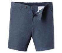 Shorts aus Baumwoll-Leinen in Airforceblau