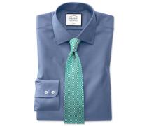 Slim Fit Pinpoint-Oxfordhemd in Mittelblau