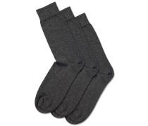3er-Pack Socken mit hohem Baumwollanteil in Grau