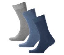 3er Pack Baumwoll-Mix-Socken in Blau und Bunt