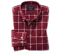 Extra Slim Fit Oxfordhemd in BurgunderRot und Weiß