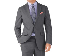 Slim Fit Business Anzug Sakko aus Krepp in Silber