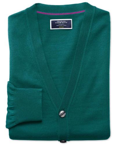 Strickjacke aus Merinowolle in Blaugrün
