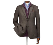 Slim Fit Blazer aus italienischer Wolle in Mokka