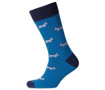 Socken mit Hundemotiv in Blau