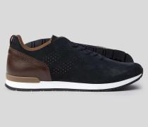 Sneaker aus Wildleder - Marineblau & Braun
