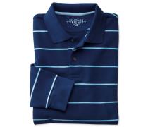Langärm Piqué Poloshirt in Blauen und Blau