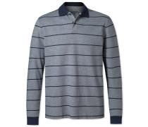 Langärm, gestreiftes Piqué-Oxford-Polohemd