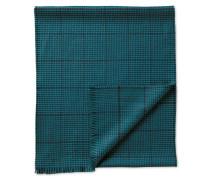 Merino Schal in blaugrün mit Hahnentritt