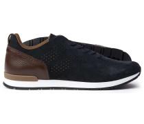 Wildleder-Sneakers in Marineblau & Braun