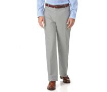 Bügelfreie Classic Fit Stretch-Hose in Silber