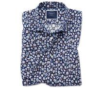 Kurzärmeliges Hemd Slim Fit Baumwolle/Leinen