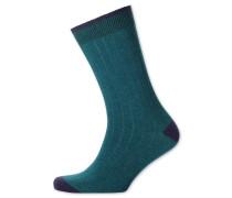 Rippstrick-Socken in Blaugrün
