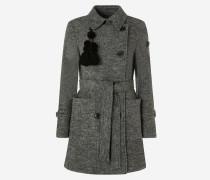 Doppelreihiger Mantel aus Wolle und superleichtem Stoff