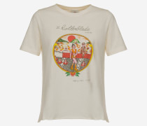 Baumwoll-Jersey-T-Shirt mit Motiv