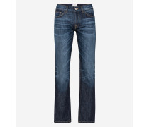 Dunkle Baumwoll-Stretch-Jeans, stone washed