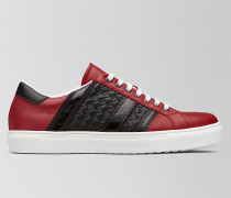 BV TECH STRIPE SNEAKER AUS KALBSLEDER IN CHINA RED