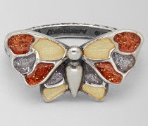 RING AUS SILBER ANTIQUE MULTICOLOR BUTTERFLY