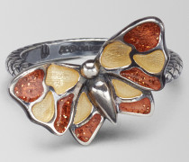 MEHRFARBIGER BUTTERFLY RING AUS ALTSILBER