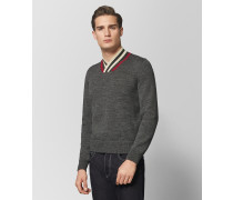 PULLOVER AUS WOLLE IN DARK GREY