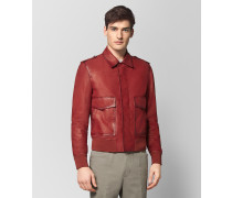 JACKE AUS KALBSLEDER IN DARK CHINA RED