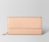 CONTINENTAL PORTEMONNAIE AUS INTRECCIATO NAPPA IN PEACH ROSE