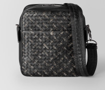 MESSENGER-TASCHE AUS INTRECCIATO MICRODOTS IN NERO DARK LEATHER