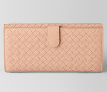 FRENCH-PORTEMONNAIE AUS INTRECCIATO NAPPA IN PEACH ROSE