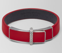 ARMBAND AUS LEDER/OXIDIERTEM SILBER IN CHINA RED