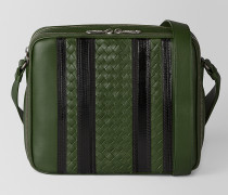 TECH STRIPE MESSENGER-TASCHE AUS NAPPA IN FOREST NERO