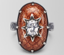 RING AUS SILBER ANTIQUE BROWN