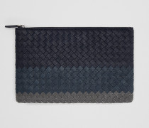 MITTLERE DOKUMENTENMAPPE AUS INTRECCIATO CLUB-LAMMLEDER IN DARK NAVY DENIM ARDOISE