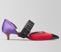 D'ORSAY KITTEN HEELS AUS SATIN IN CHINA RED LILAC