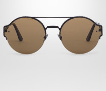 SONNENBRILLE AUS METALL BLACK, LINSEN BROWN