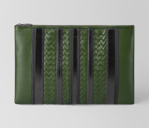 TECH STRIPE POCHETTE AUS NAPPA IN FOREST NERO