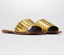 RAVELLO SANDALEN AUS KALBSLEDER INTRECCIATO IN LIGHT GOLD