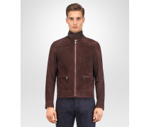 JACKE AUS LAMMVELOURSLEDER IN DARK BAROLO