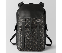 SASSOLUNGO RUCKSACK AUS INTRECCIATO MICRODOTS IN NERO DARK LEATHER
