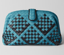 THE LAUREN 1980 AUS INTRECCIATO CHECKER CHECK NAPPA IN AQUA NERO