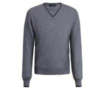 Pullover mit Ellbogen-Patches und V-Ausschnitt