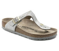 Gizeh Suede Leather Washed Metallic Blue Silver