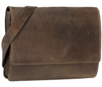 Antico Messenger Leder 38 cm Laptopfach taupe