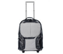 Coleos 2-Rollen Trolley Rucksack 53 cm Laptopfach black white