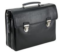 Toscana Aktentasche Leder 42 cm Laptopfach schwarz