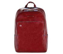 Blue Square Rucksack Leder 39 cm Laptopfach red