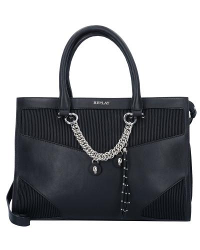 Handtasche Leder 36 cm black