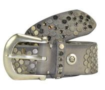 Nietengürtel Leder 95 cm taupe
